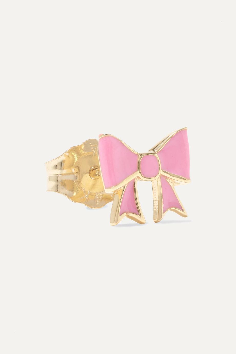 Alison Lou Bow 14-karat gold and enamel earring