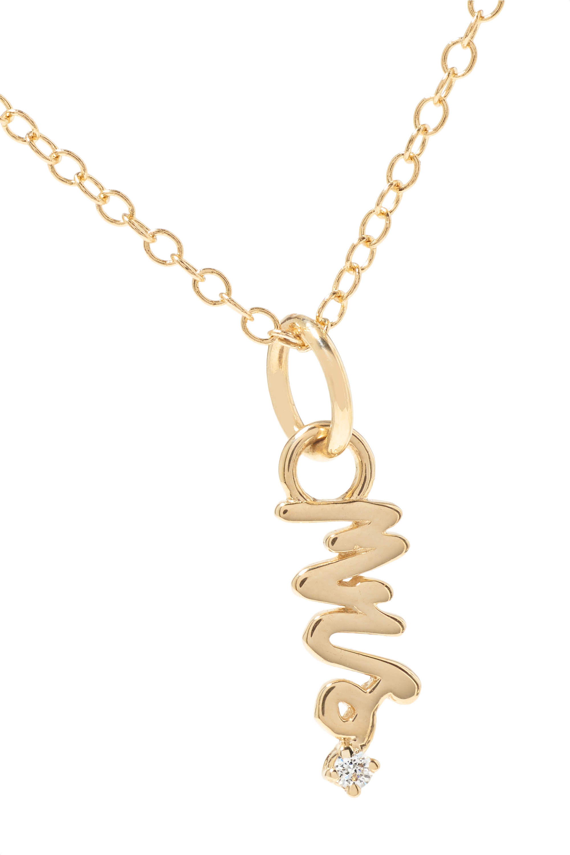 Alison Lou Mini Mrs. 14-karat gold diamond necklace