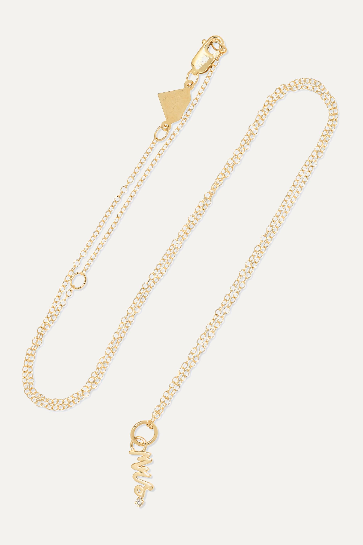 Alison Lou Mini Mrs. Kette aus 14 Karat Gold mit Diamant