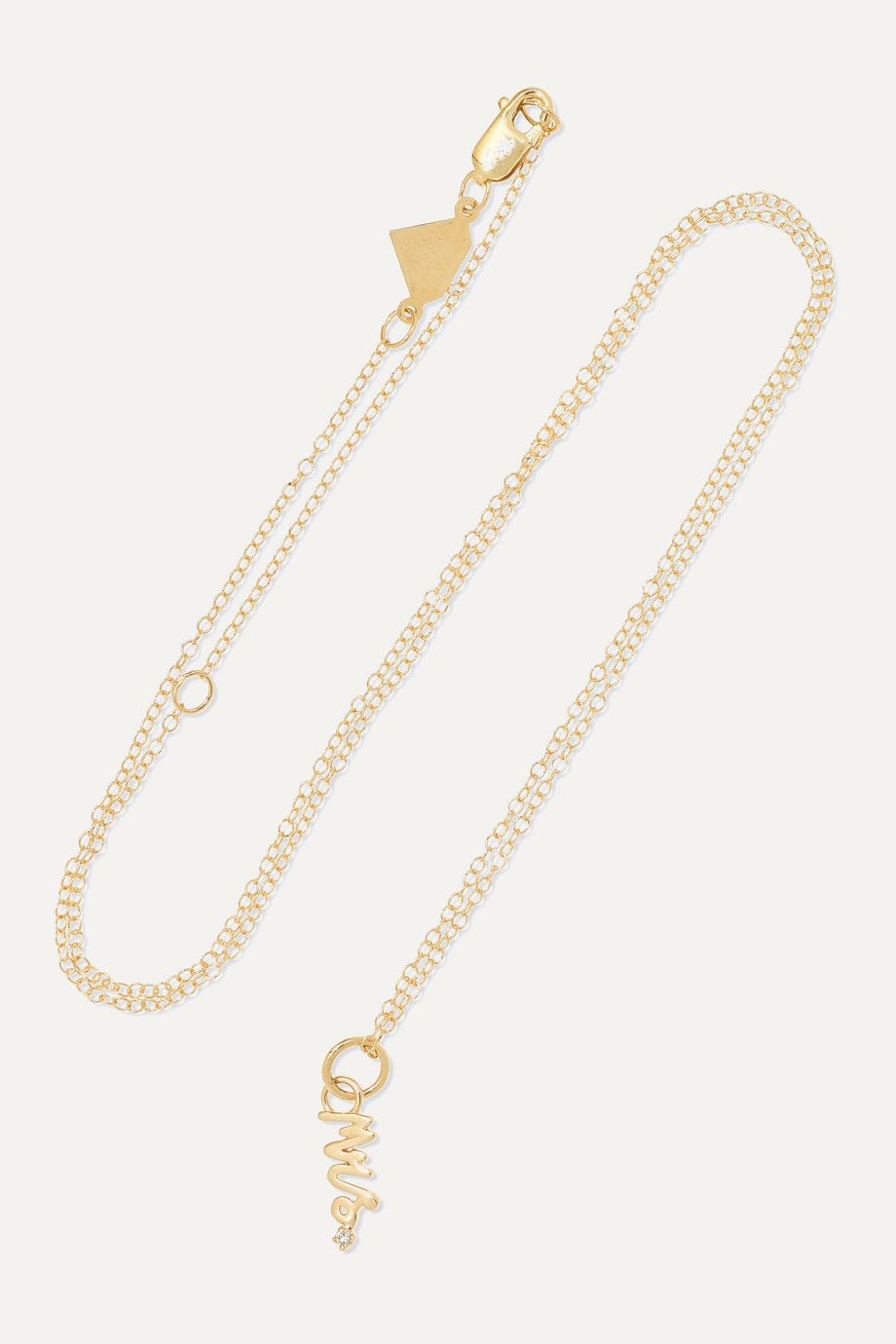 Alison Lou Mini Mrs. 14-karat gold diamond necklace