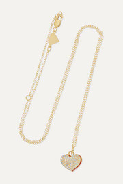 Heart 14-karat gold, enamel and diamond necklace