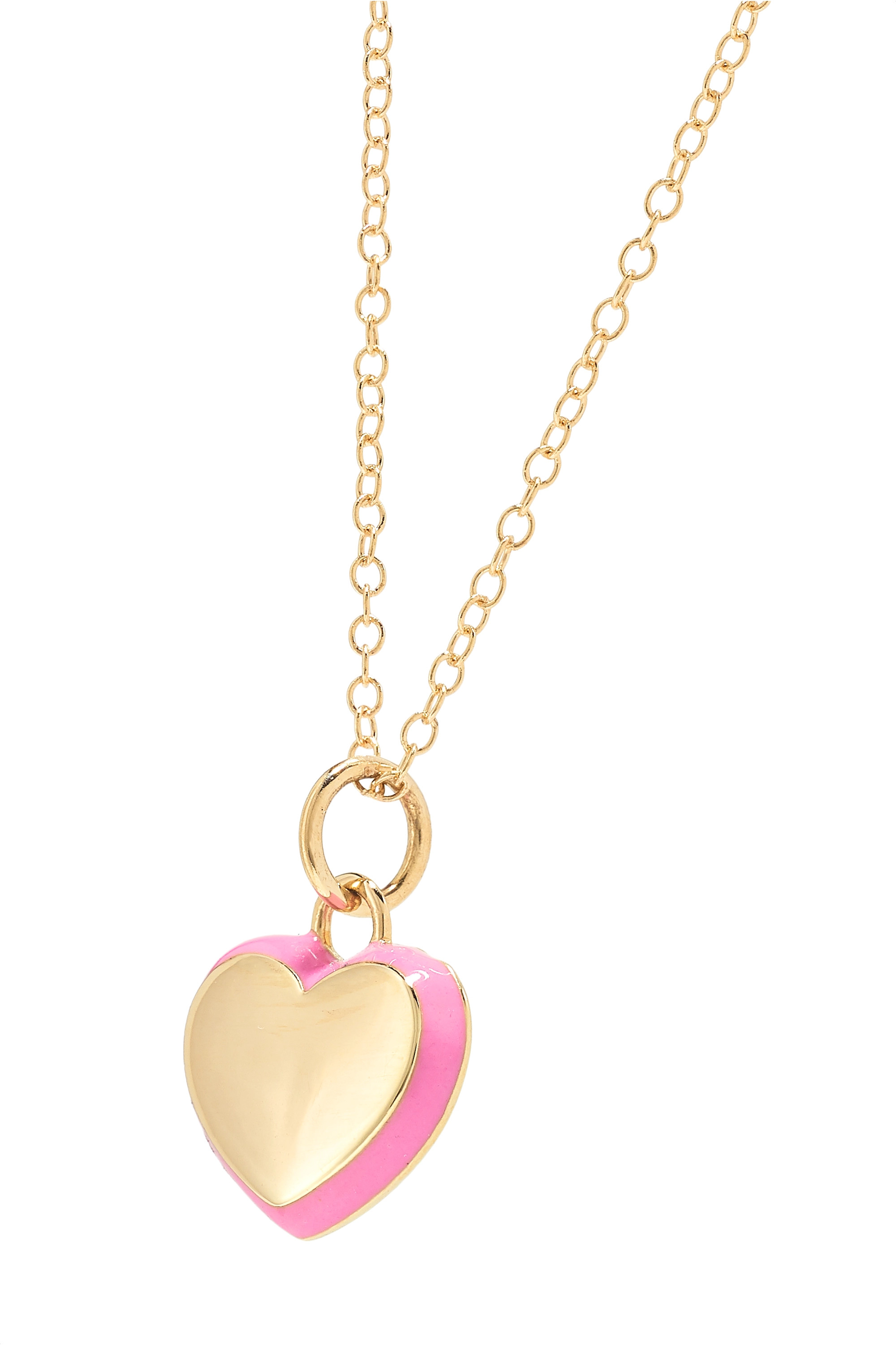 Gold Puffy Heart 14-karat And Enamel Necklace | Alison Lou