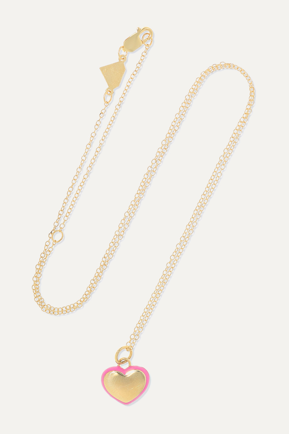 Alison Lou Puffy Heart 14-karat gold and enamel necklace