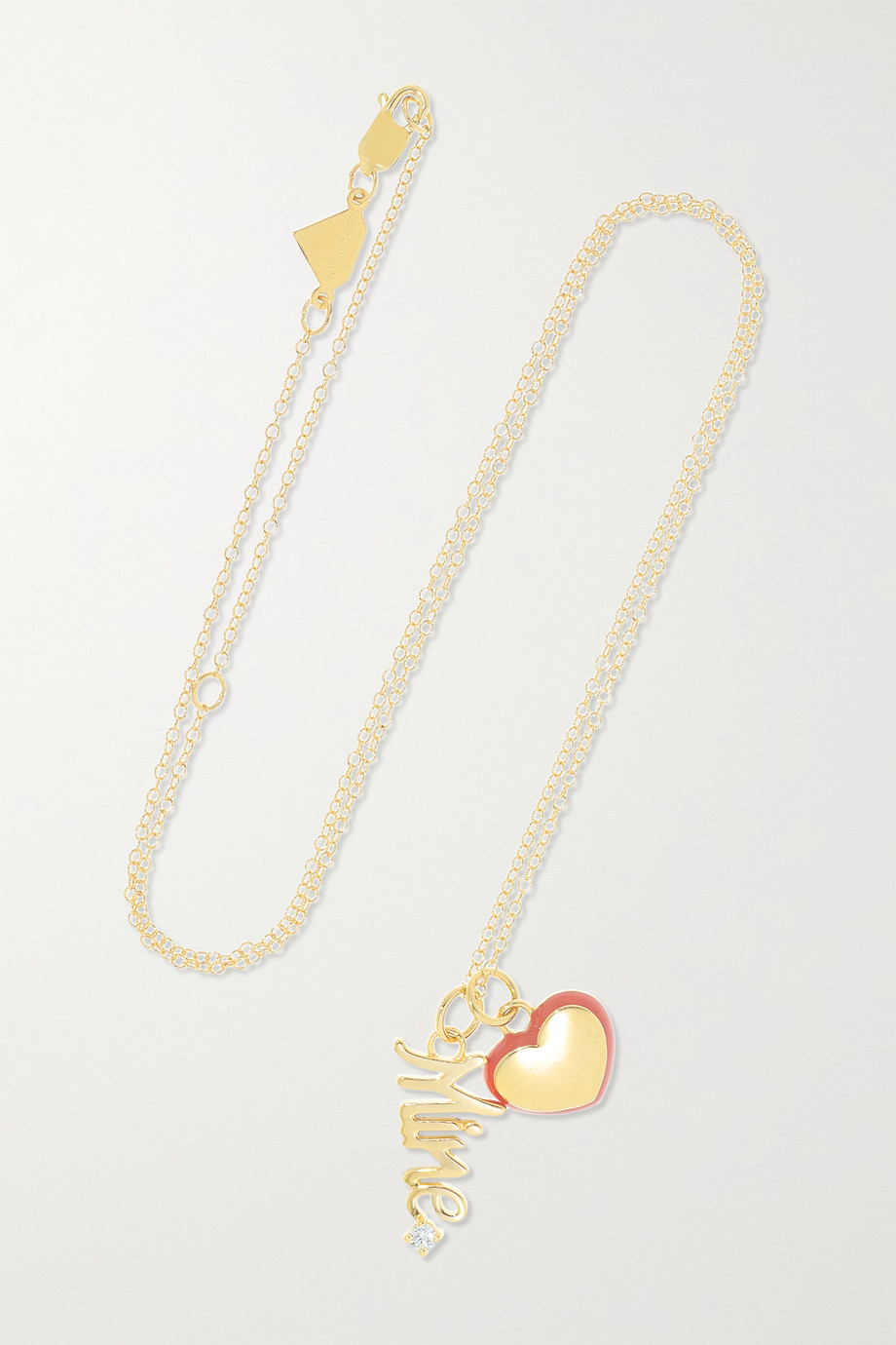 Alison Lou Mine 14-karat gold, enamel and diamond necklace