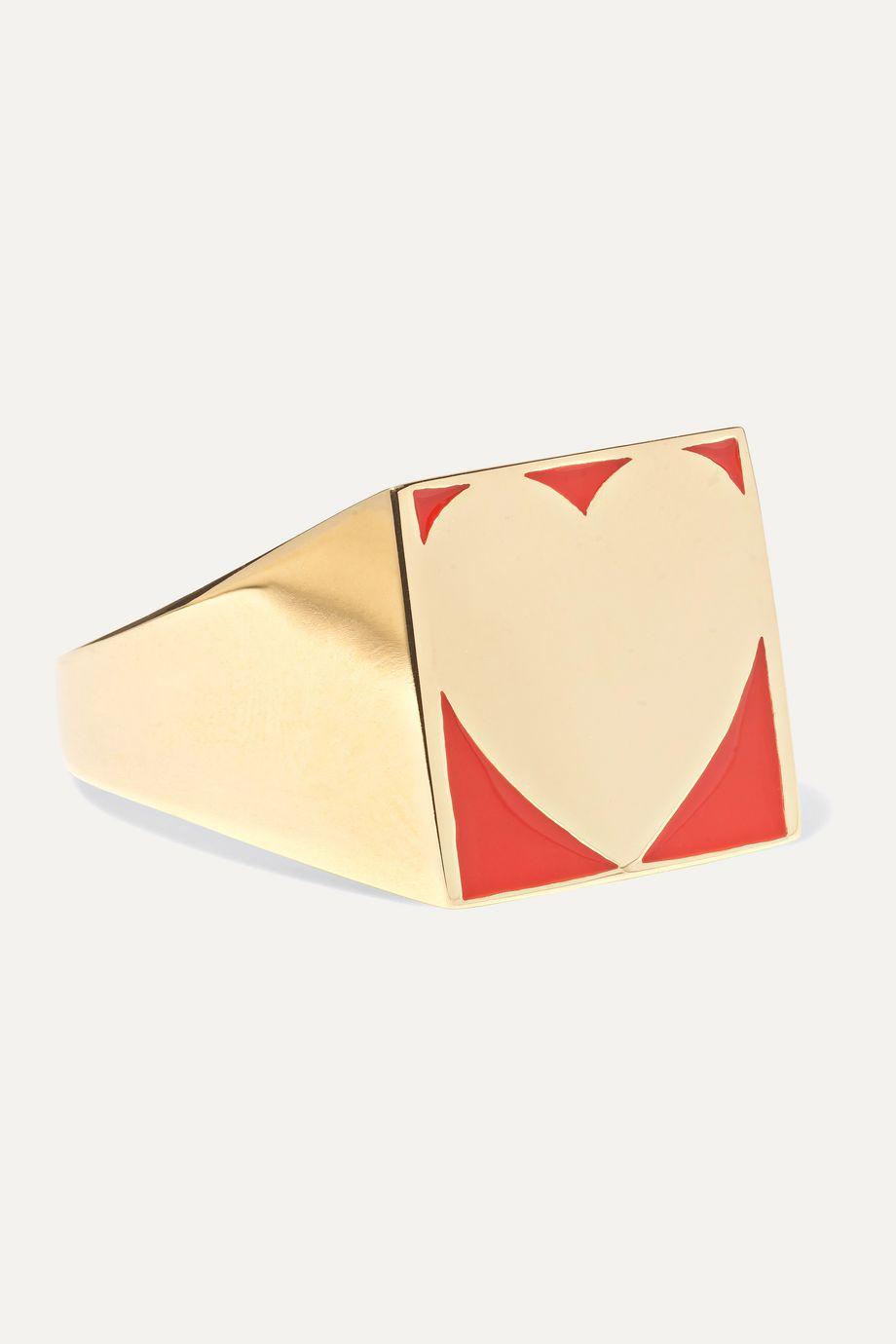 Alison Lou SuperLou 14-karat gold and enamel ring