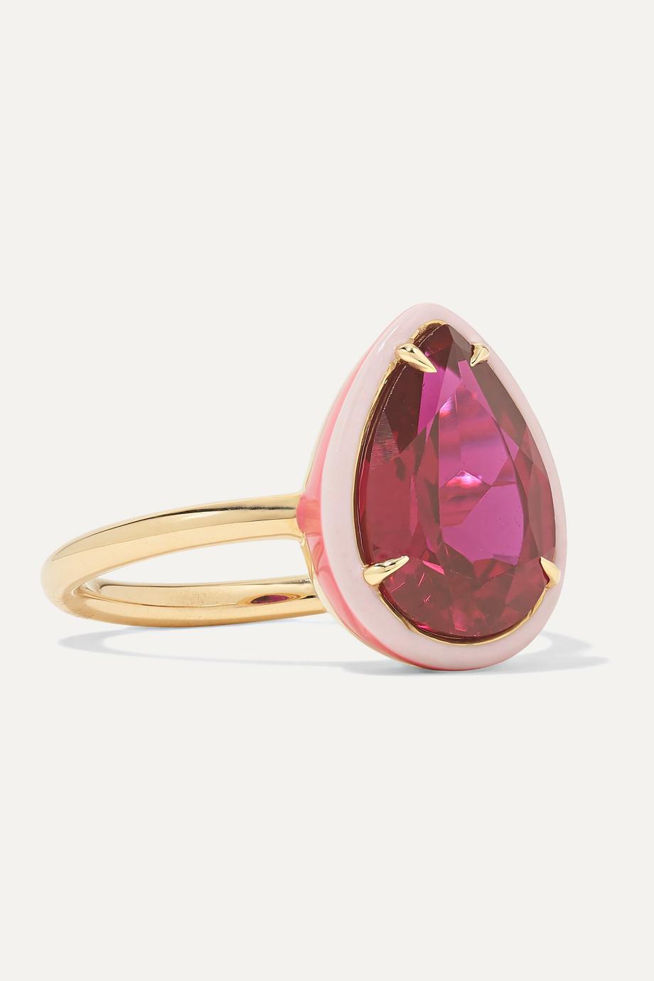 Alison Lou Cocktail 14K 黄金、搪瓷、红宝石戒指
