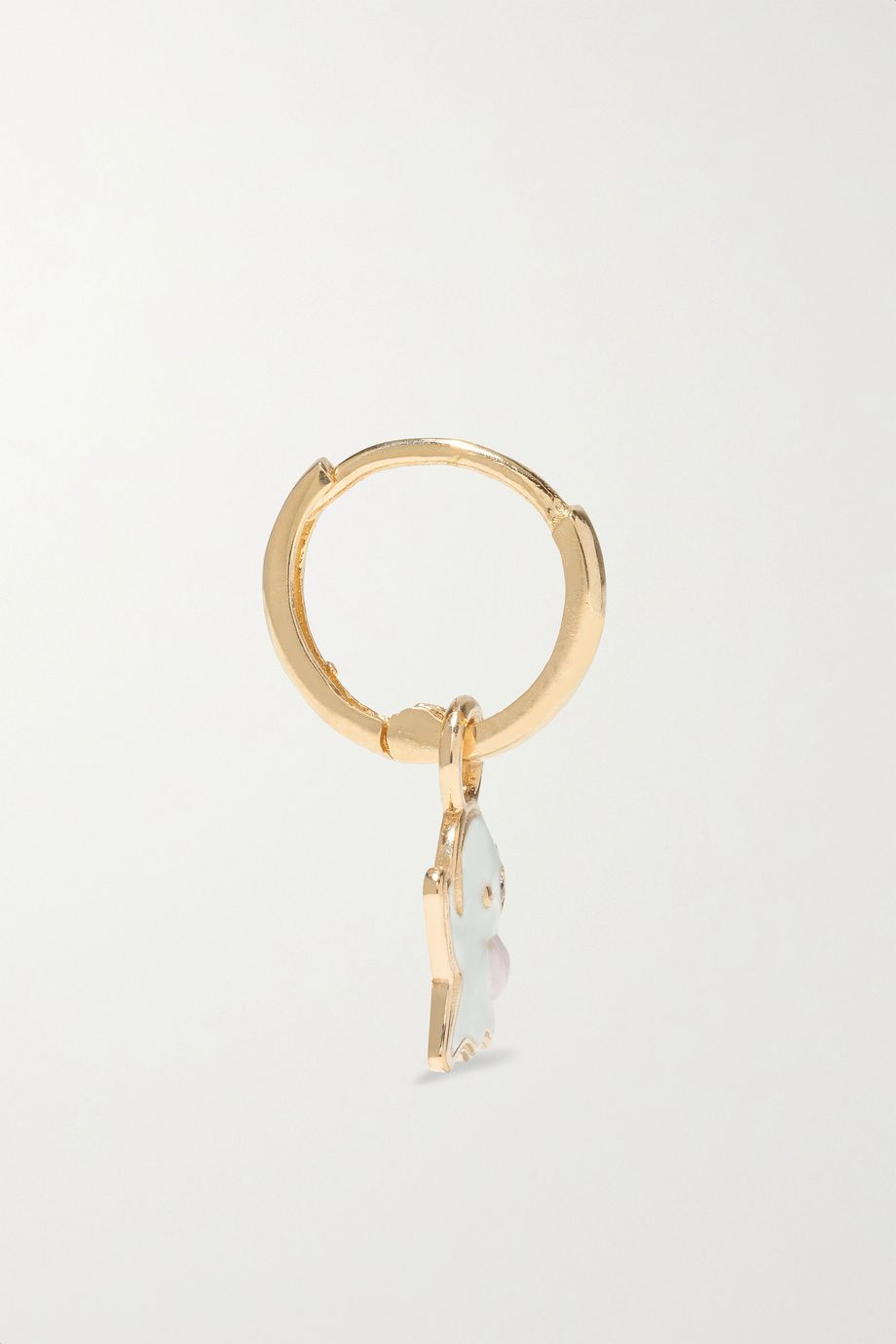 Alison Lou Ghost Huggy 14-karat gold, glow-in-the-dark enamel and diamond earring
