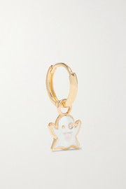 Ghost Huggy 14-karat gold, glow-in-the-dark enamel and diamond earring