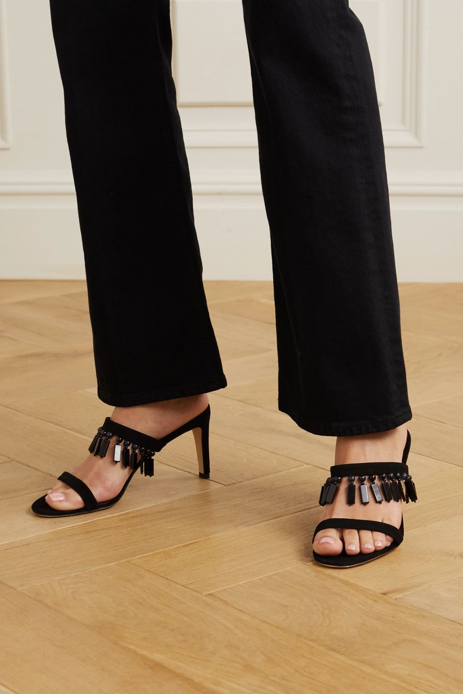 STAUD Raoule bead-embellished suede mules
