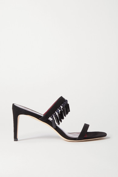 Staud Raoule Bead-embellished Suede Mules In Black