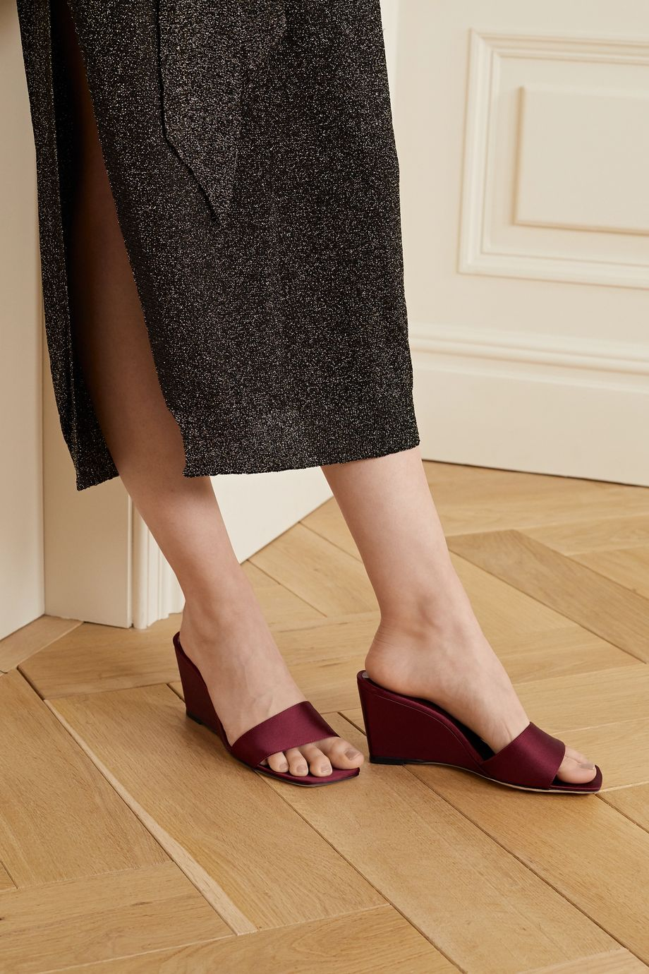 STAUD Billie satin wedge mules