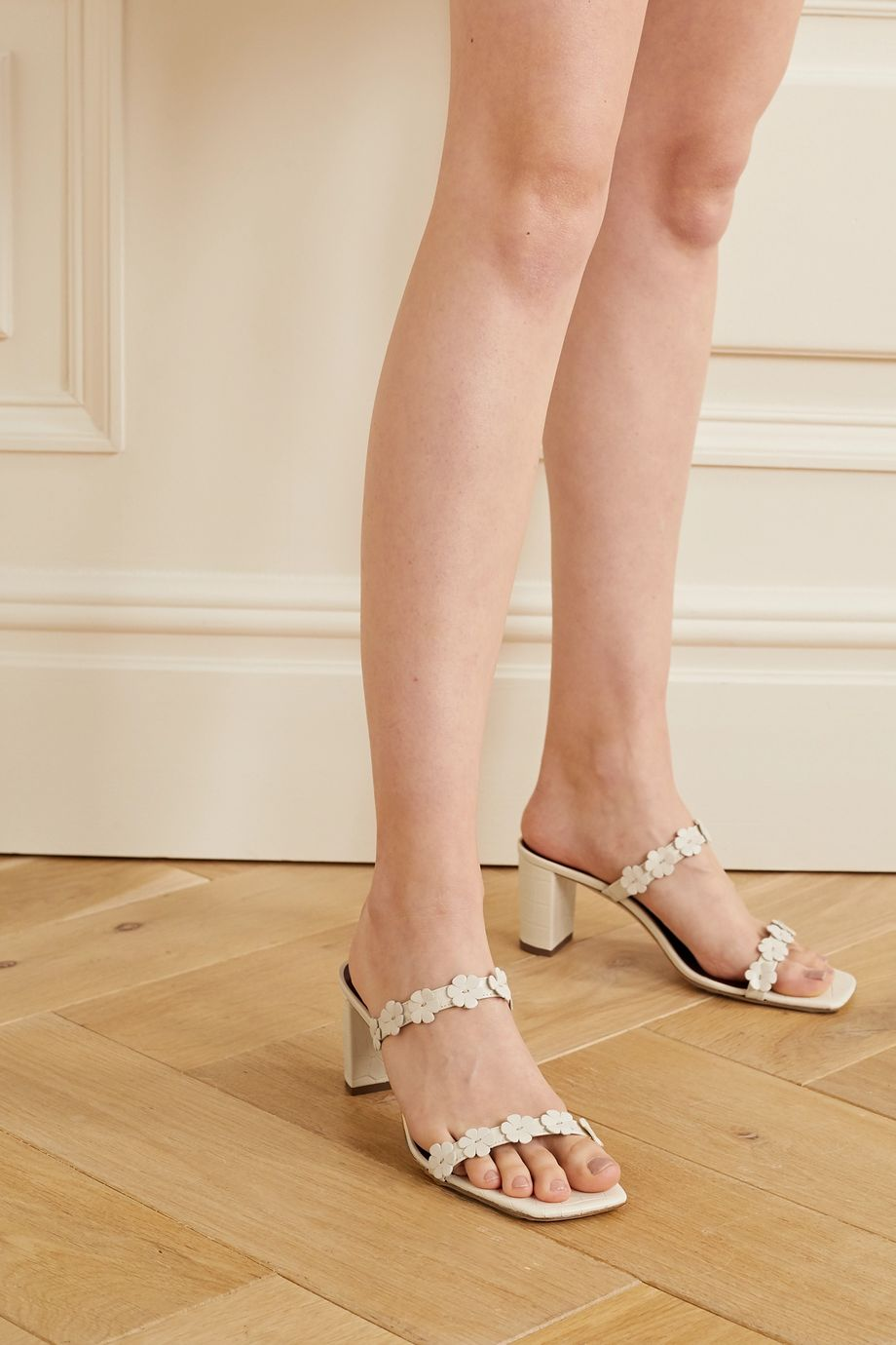 STAUD Franka appliquéd croc-effect leather sandals