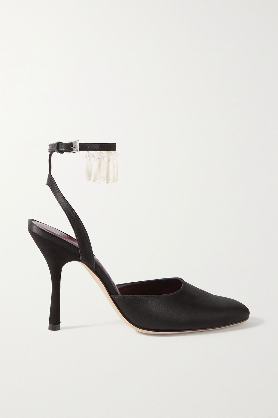 STAUD Carla beaded satin pumps