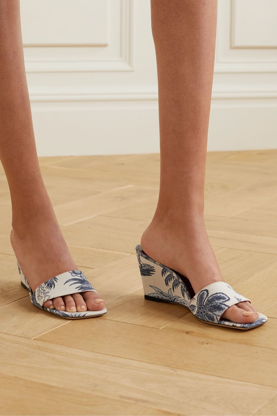 STAUD Billie printed canvas wedge sandals