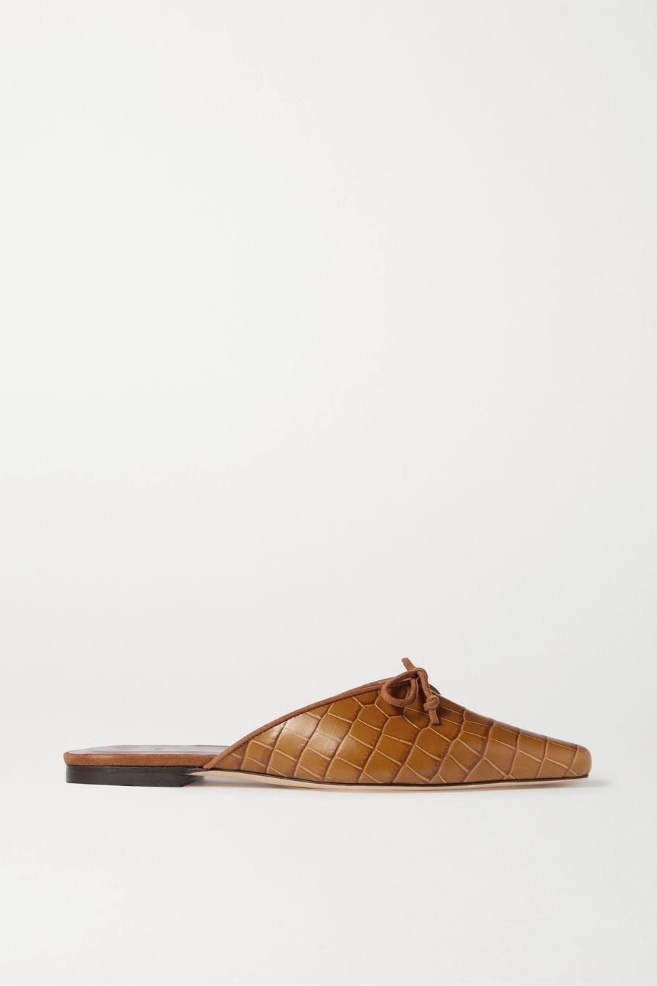 STAUD Gina croc-effect leather slippers