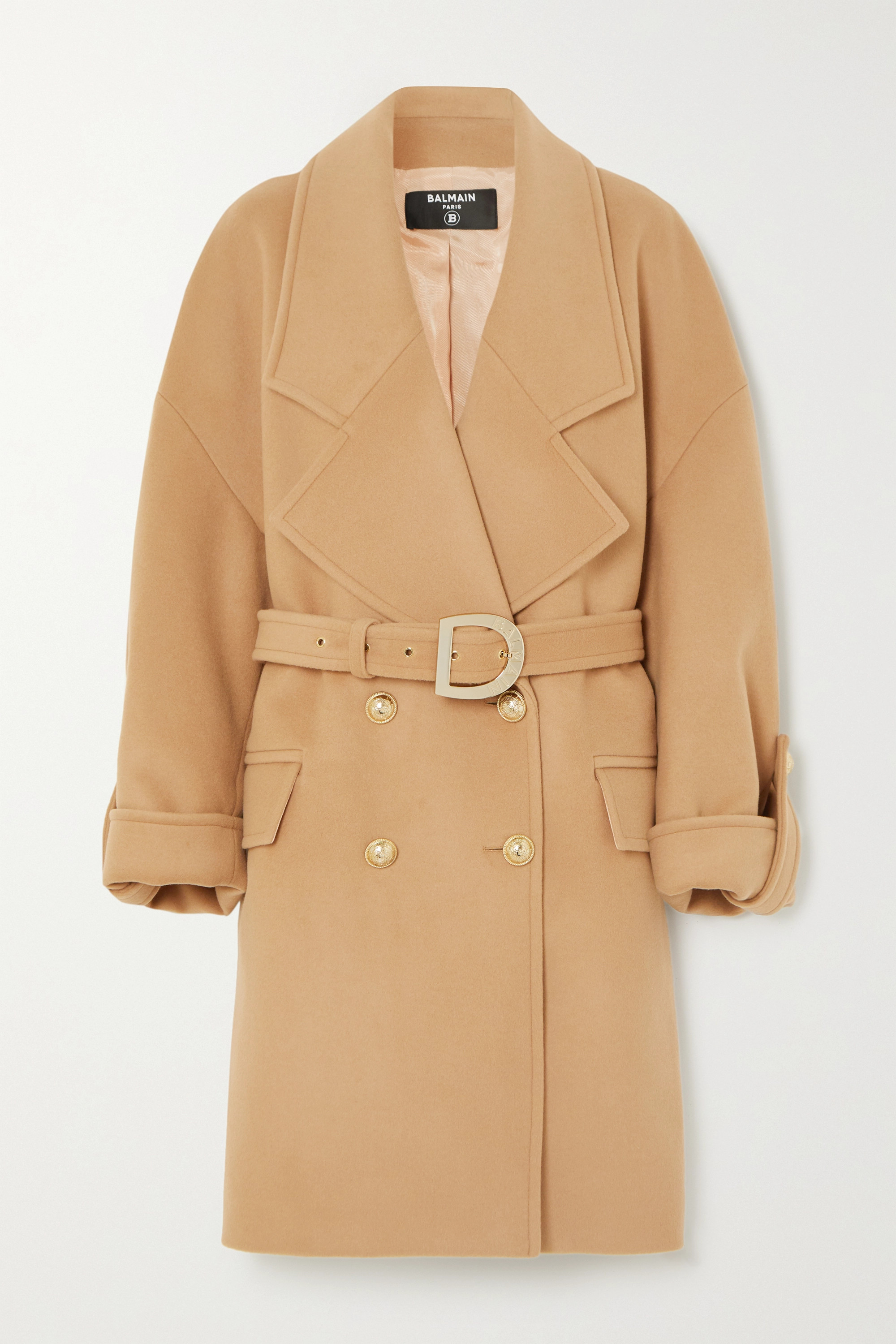 Balmain Button-embellished double-breasted wool and cashmere-blend coat