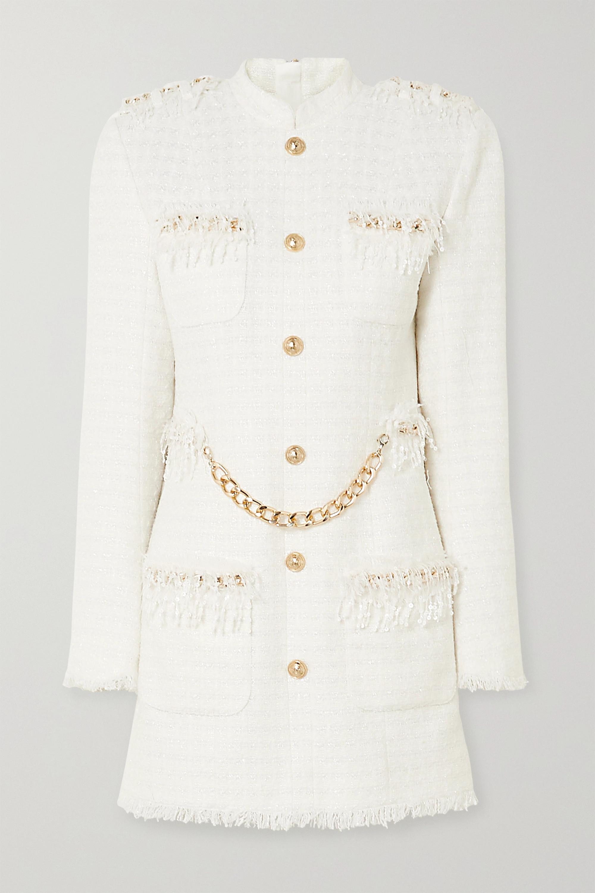 Balmain Chain and sequin-embellished tweed mini dress