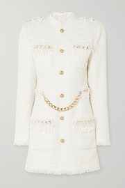 Balmain Chain and sequin-embellished tweed mini dress