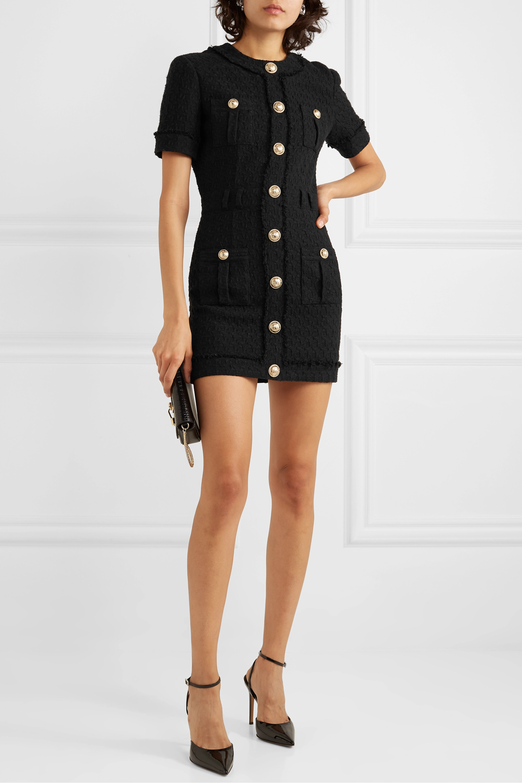 Balmain Button-embellished cotton-blend tweed mini dress