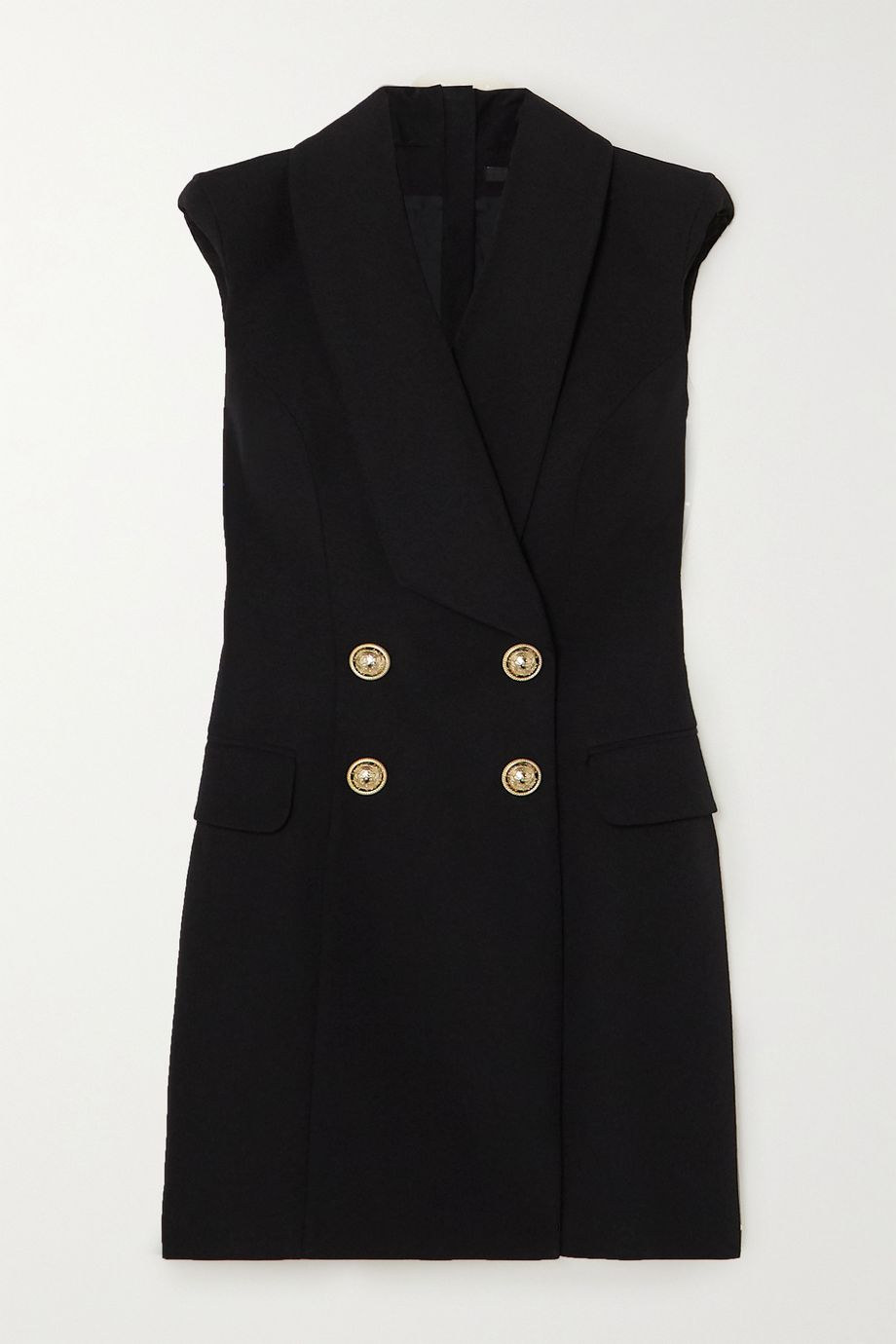 Balmain Button-embellished grain de poudre wool mini dress