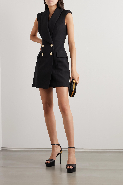 Balmain Button-embellished grain de poudre wool mini dress