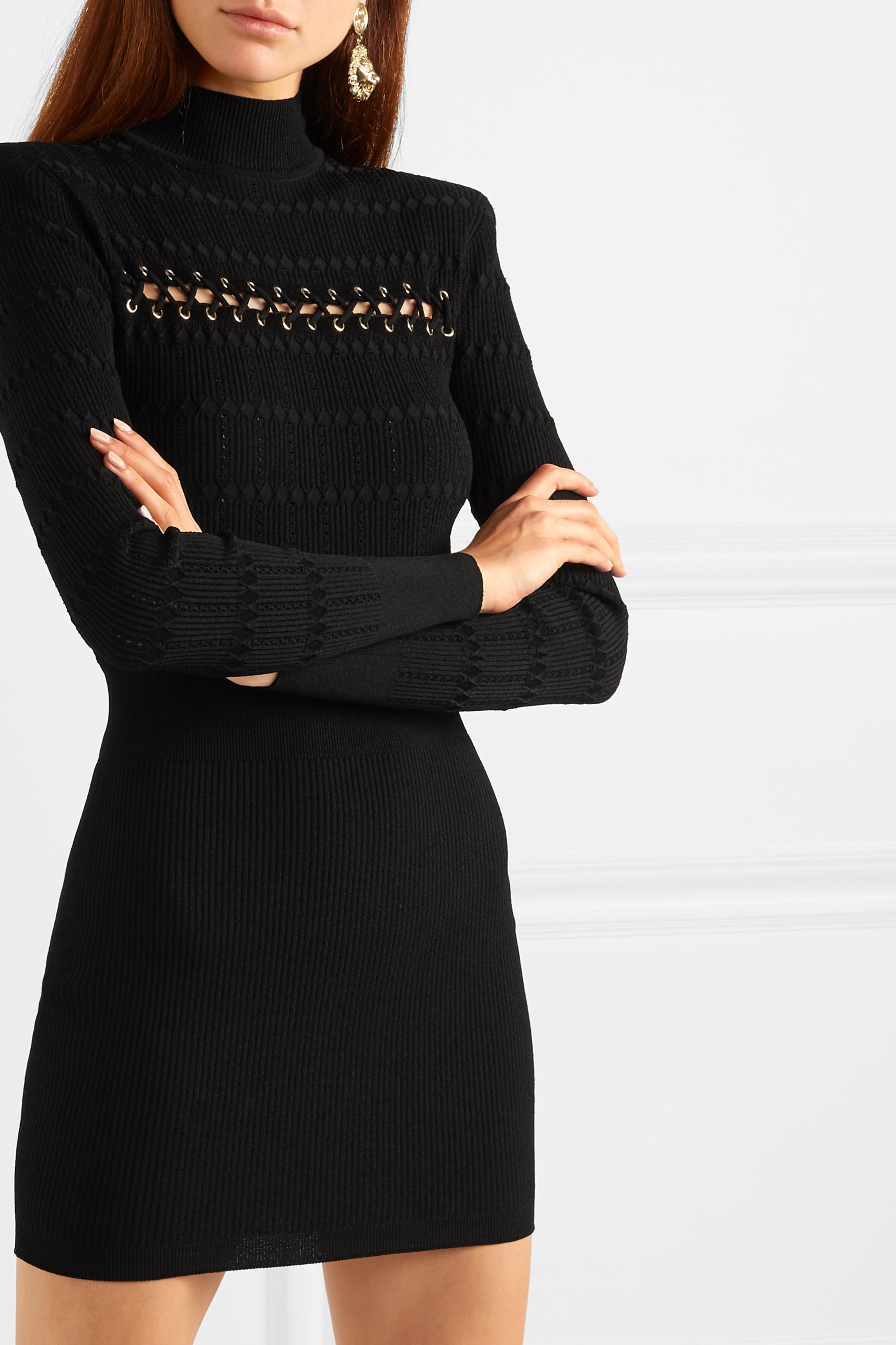 Balmain Minikleid aus geripptem Pointelle-Strick mit Schnürung