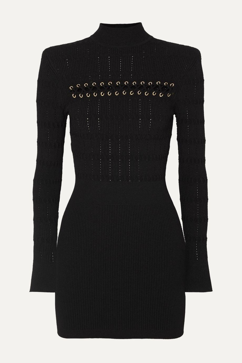 Balmain Lace-up ribbed pointelle-knit mini dress
