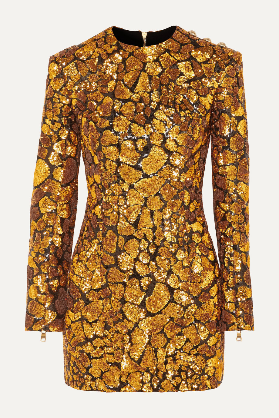Balmain Button-embellished sequined crepe mini dress