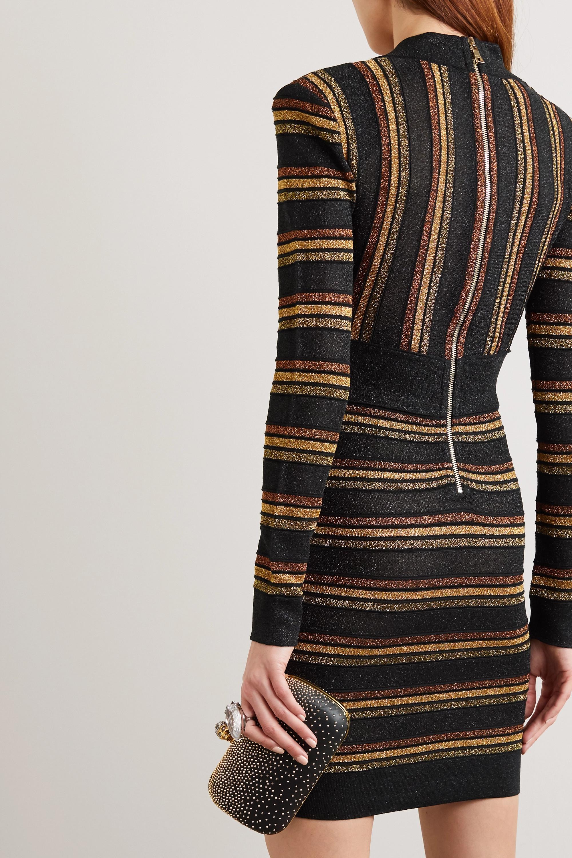 Balmain Minikleid aus einer Metallic-Wollmischung mit Streifen