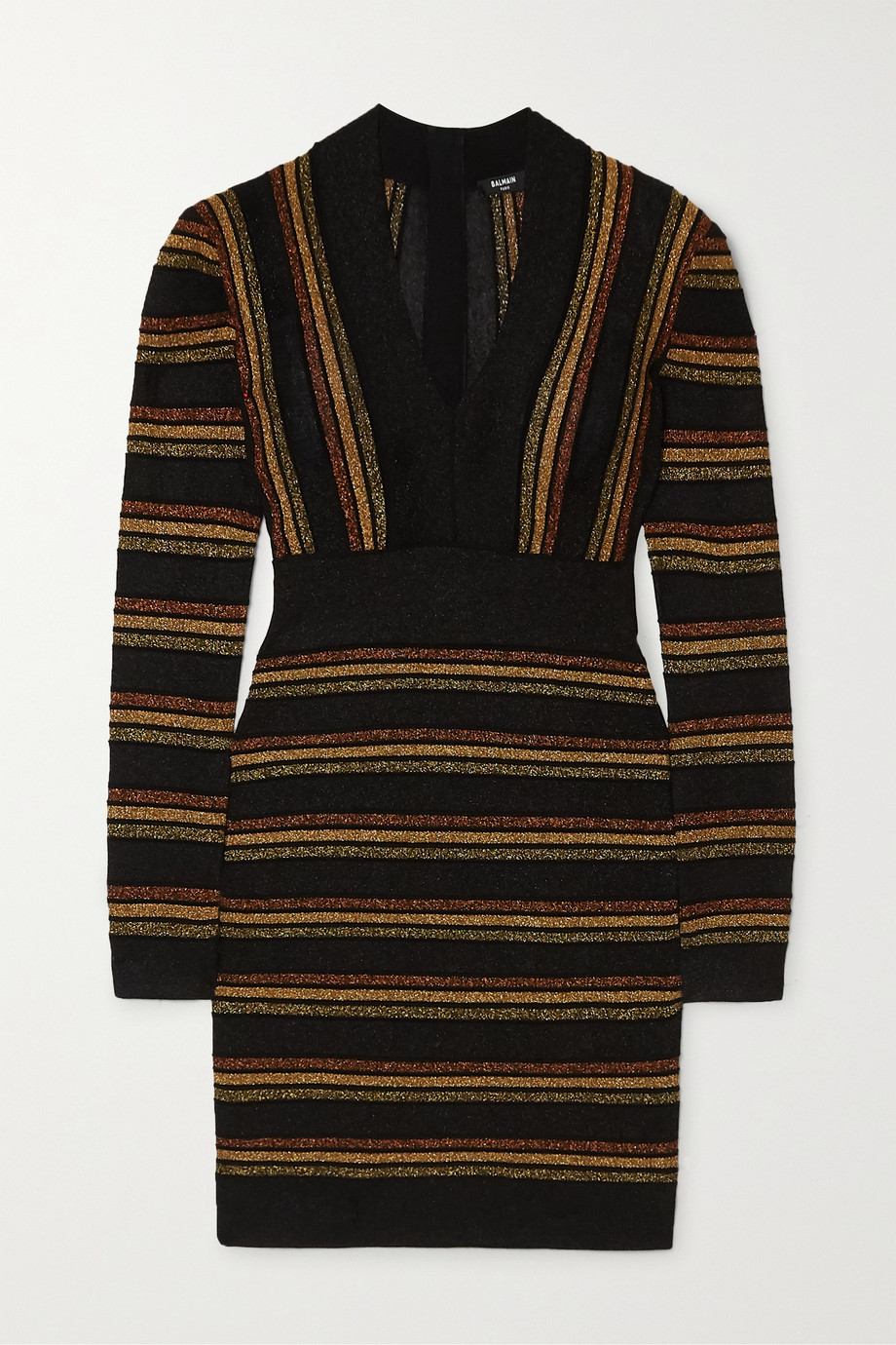 Balmain Striped metallic wool-blend mini dress