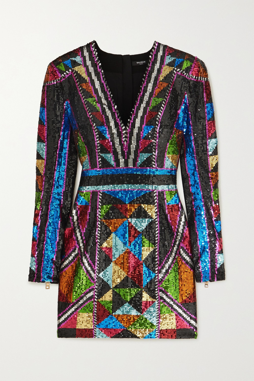 Balmain Sequined crepe mini dress