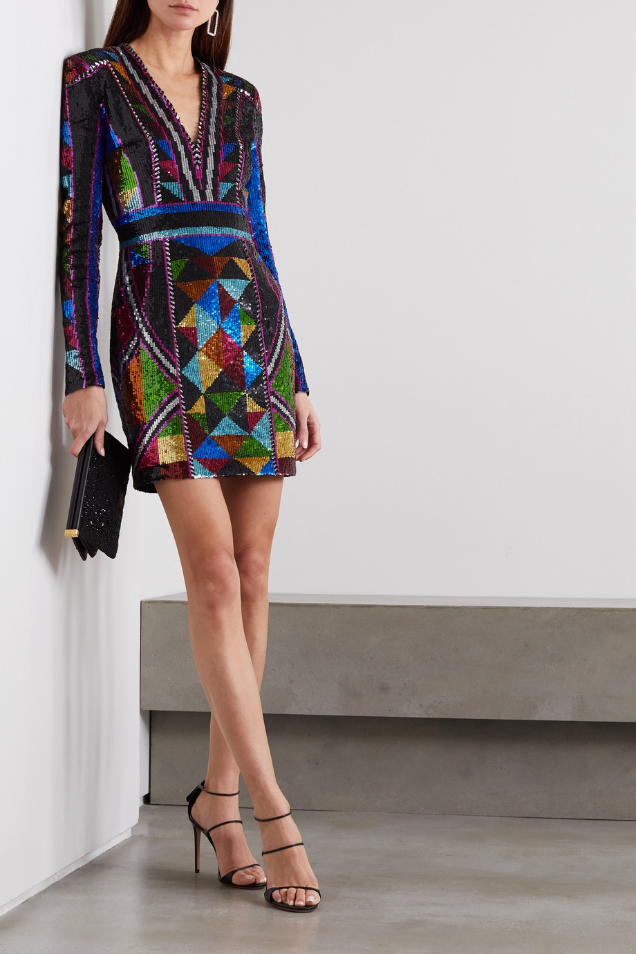 Balmain Sequined crepe mini dress