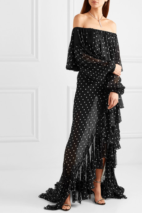 Off-the-shoulder ruffled polka-dot silk-chiffon maxi dress