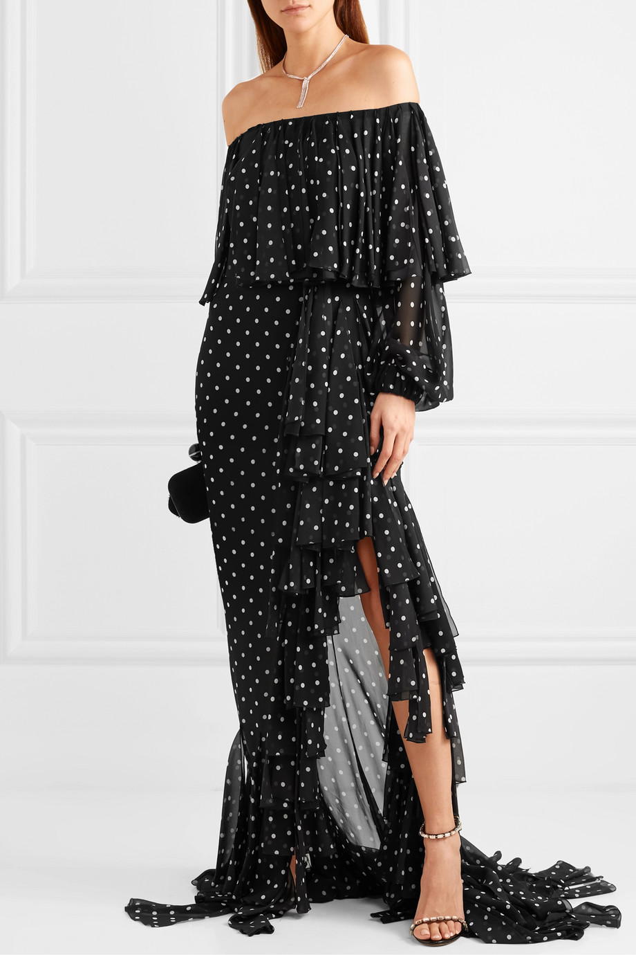 Balmain Off-the-shoulder ruffled polka-dot silk-chiffon maxi dress