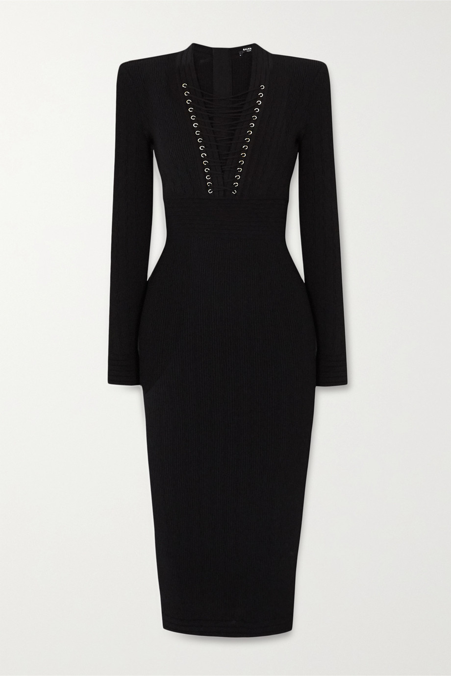 Balmain Lace-up ribbed-knit midi dress