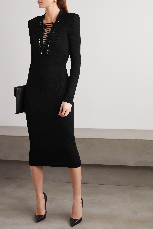 Balmain Lace-up ribbed-knit midi dress