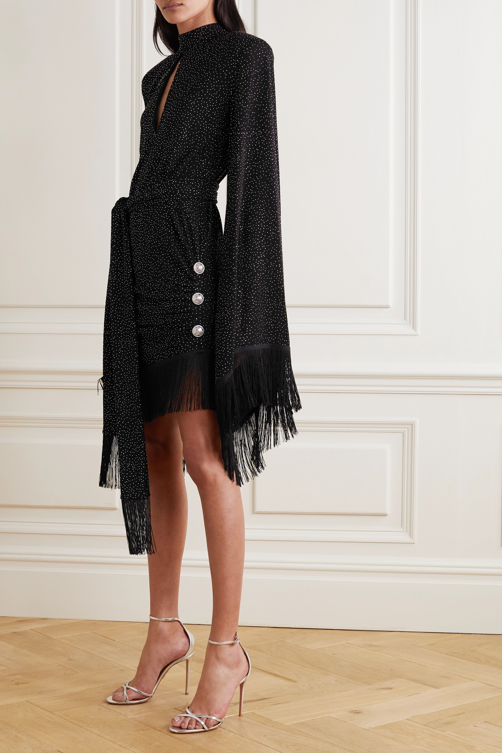 Balmain Belted fringed crystal-embellished crepe mini dress