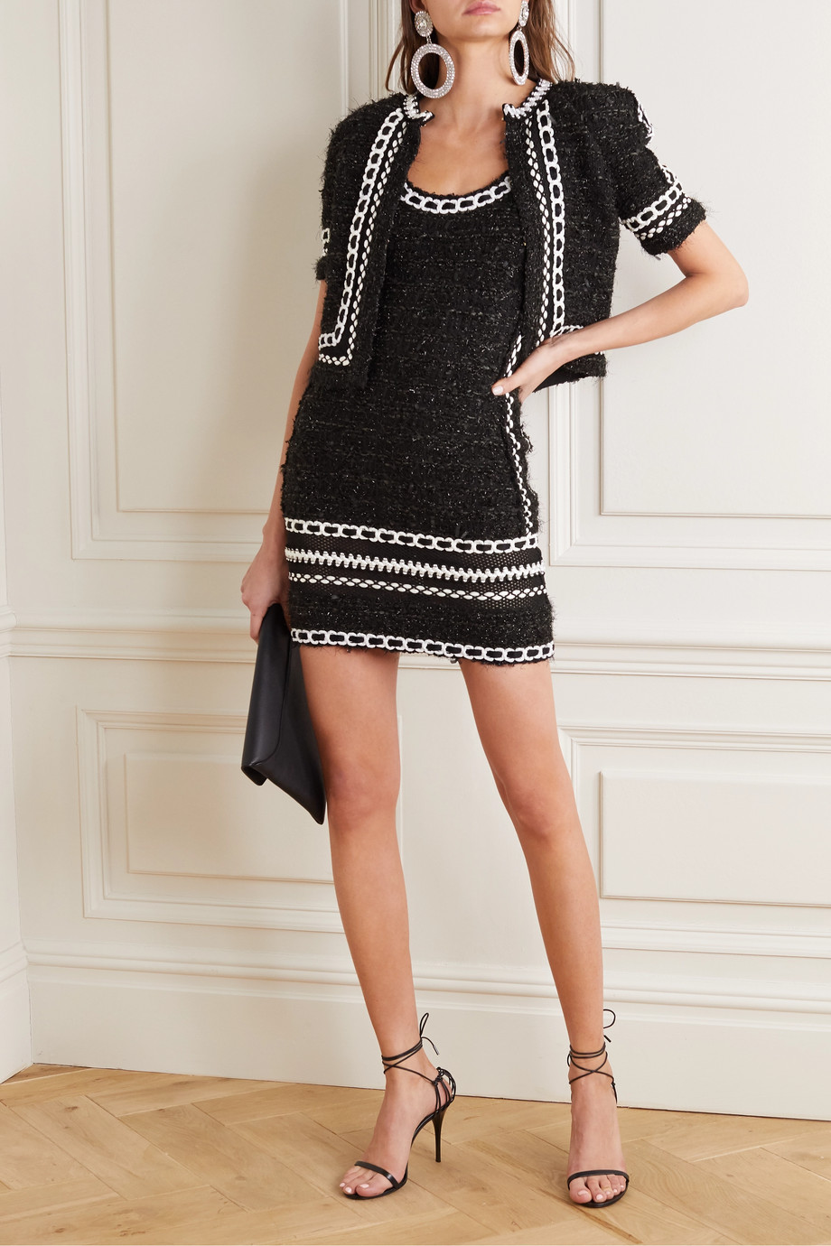 Balmain Embroidered metallic tweed mini dress
