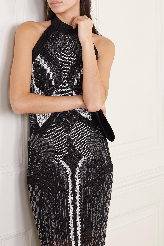 Balmain Jacquard-knit halterneck gown
