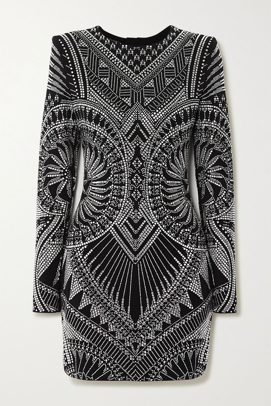 Balmain Crystal-embellished stretch-jersey mini dress