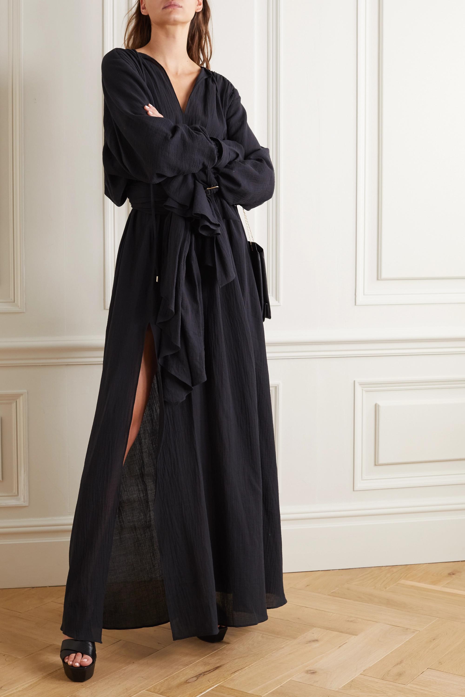 Balmain Belted cotton-gauze gown