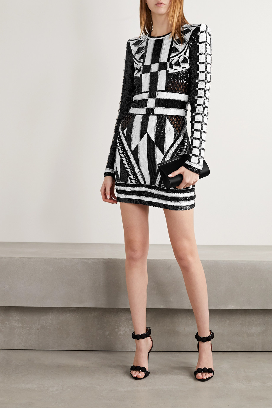 Balmain Open-back metallic jacquard-knit mini dress