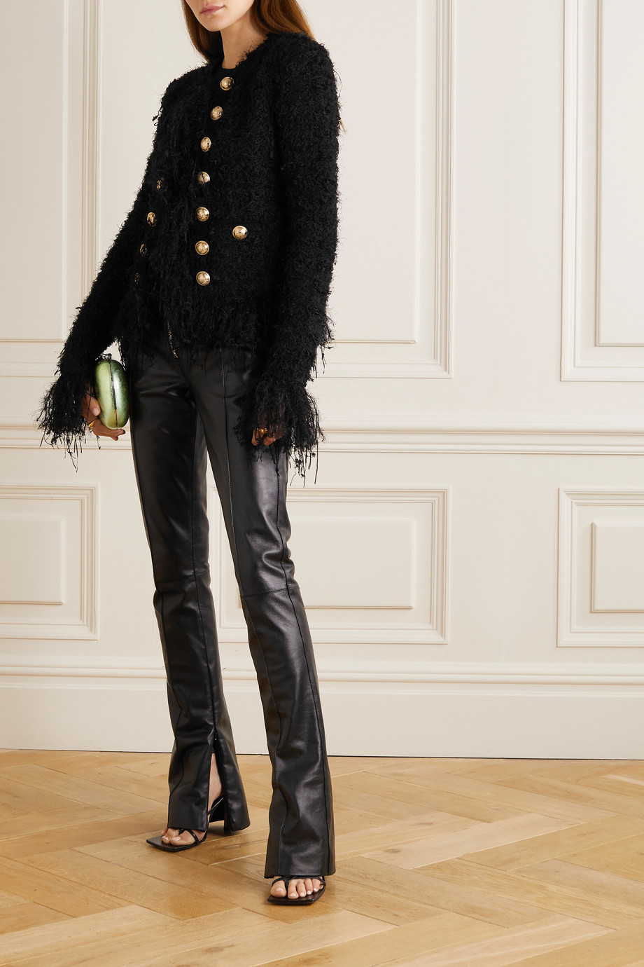 Balmain Veste en tweed à franges