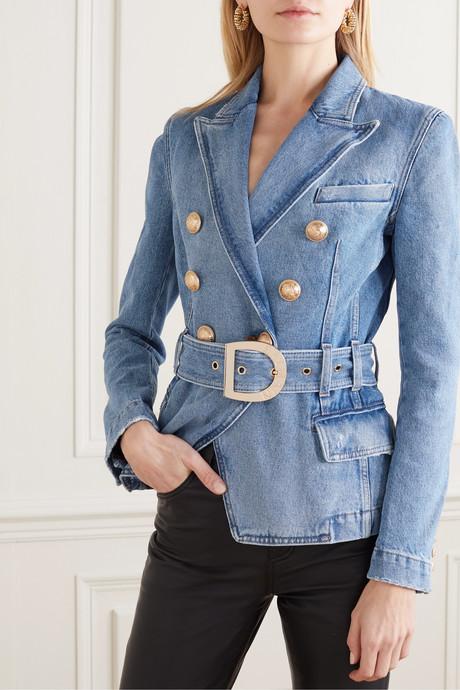 Double-breasted belted denim blazer