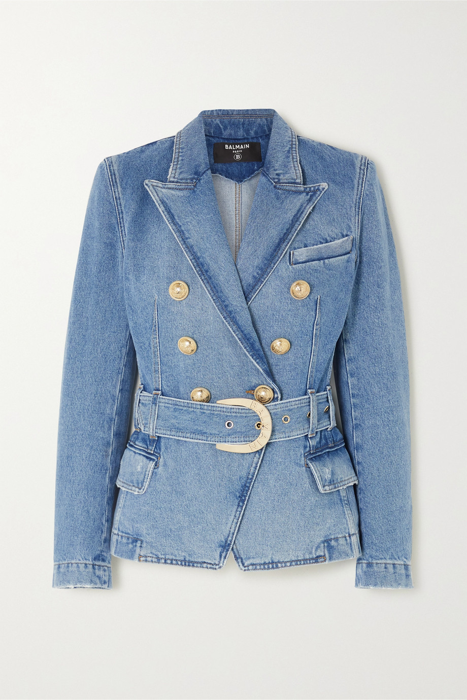 Balmain Double-breasted belted denim blazer