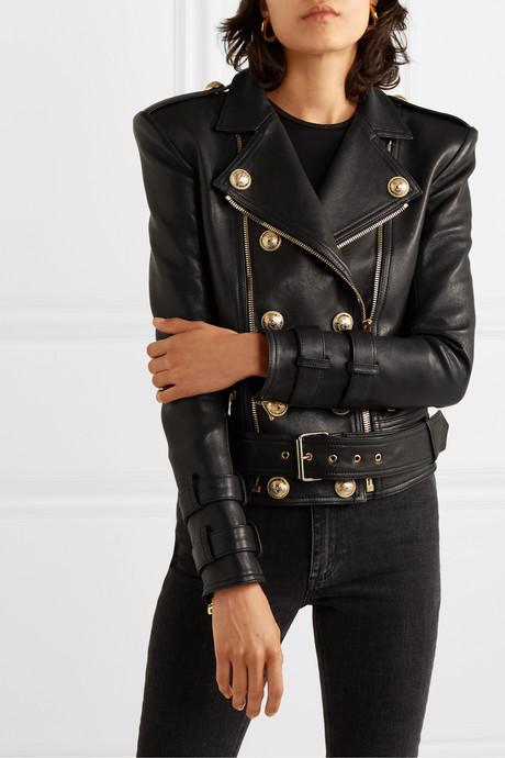 Button-embellished leather biker jacket