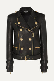 Balmain Button-embellished leather biker jacket