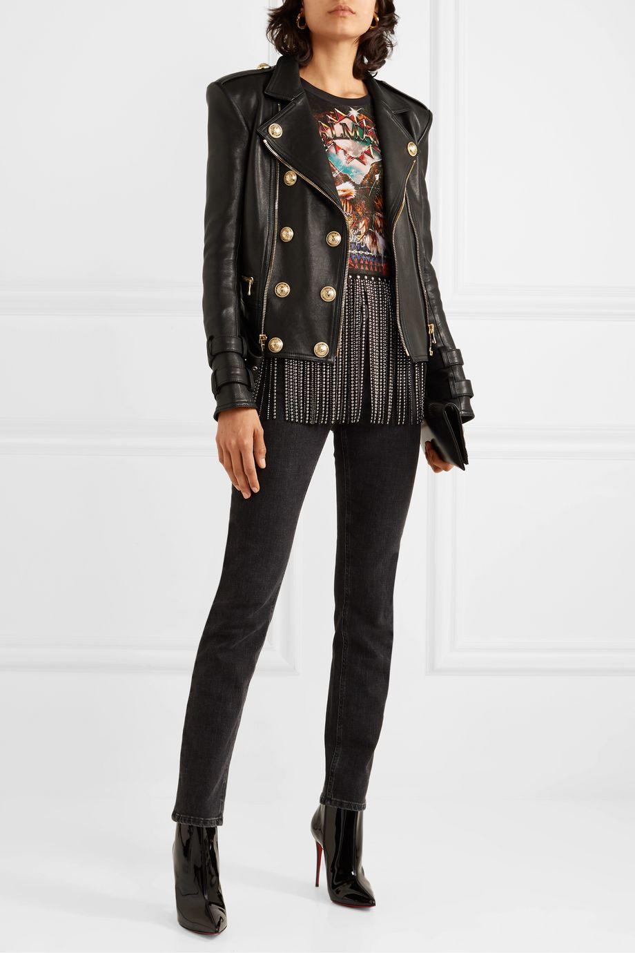 Balmain Button-embellished leather biker jacket