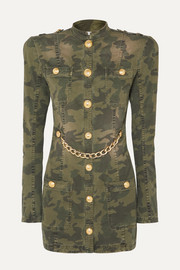Balmain Chain-embellished camouflage-print cotton-blend jacket