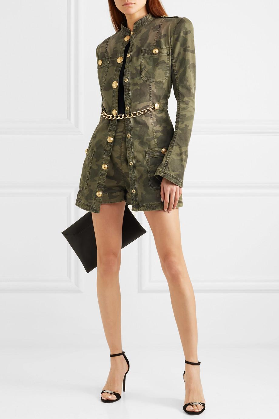 Balmain Chain-embellished camouflage-print cotton-blend jacket